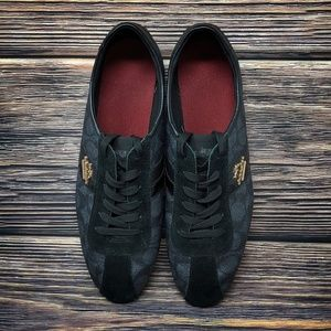 Coach Shoes - Coach Black Ivy Signature Logo Leather Red Insole